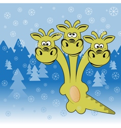 Dragon in the winter forest vector
