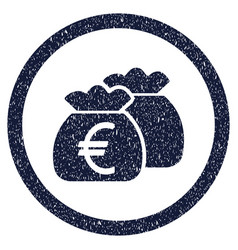 Euro money bags rounded grainy icon vector