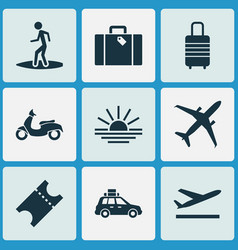 Exploration icons set with surfer airplane vector