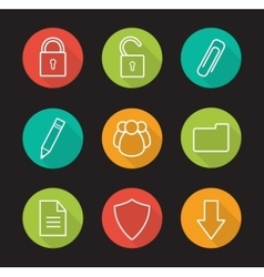 File management flat linear long shadow icons set vector image