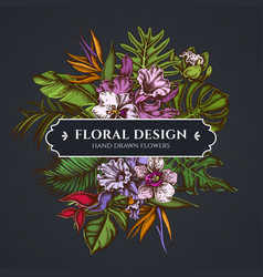 floral bouquet dark design with monstera banana vector image