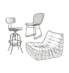 furniture sketch furnishing vintage vector image
