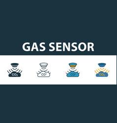 Gas sensor icon set premium symbol in different vector