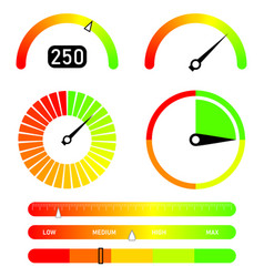 Gauges set credit score indicators vector