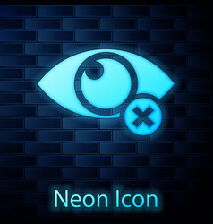 Glowing neon invisible or hide icon isolated on vector