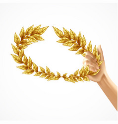 golden laurel wreath in human hand vector image
