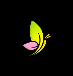Green leaf butterfly color logo vector