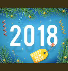 greeting card template new year 2018 symbol icon vector image