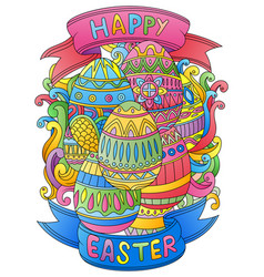 hand drawn doodles happy easter background vector image