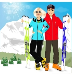 happy couple skiers with montain skis vector image