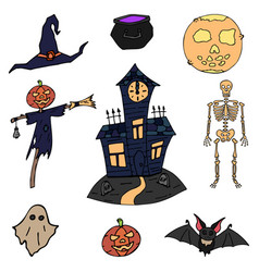 Happy halloween color icon set flying ghost vector