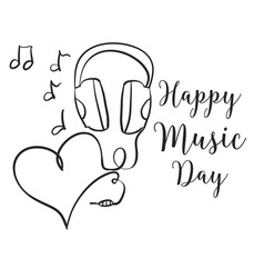 Happy music day hand draw vector
