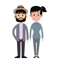 Hispter man and young girl couple relation vector