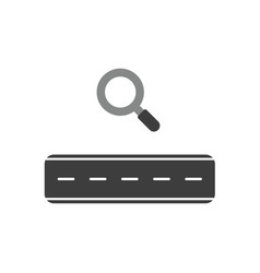 Icon concept of road with magnifying glass vector