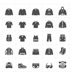 icon set - clothing man filled icon style vector image