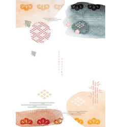 japanese template with watercolor texture vector image