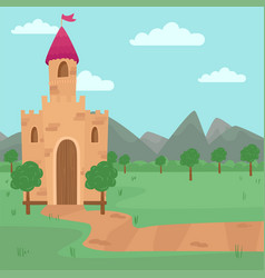 Landscape with fairy medieval castle vector