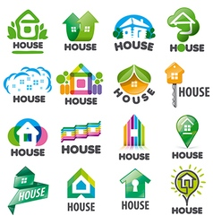 Large set of logos homes vector