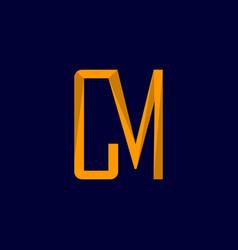 letter cm minimalist creative logo design vector image