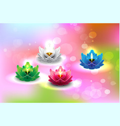 Lotus candle 02 vector
