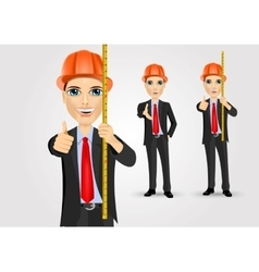 Male engineer with holding tape measure vector