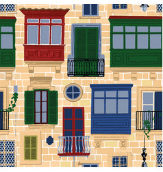Maltese balconies and windows with various vector
