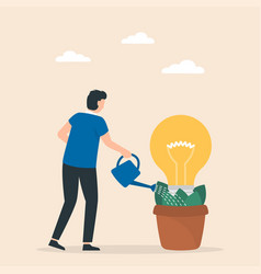 man watering young plant with light bulb on it vector image