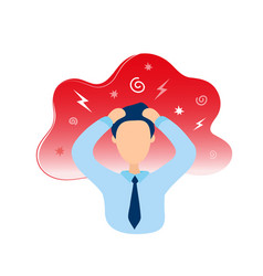 man with headache holding head in hands vector image