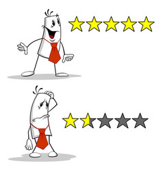 man with rating stars vector image