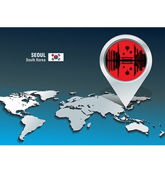 Map pin with Seoul skyline vector