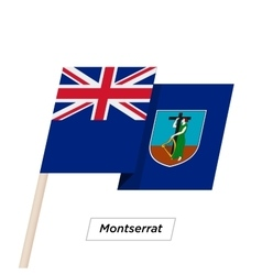 Montserrat Ribbon Waving Flag Isolated on White vector