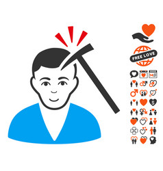 murder with hammer icon with dating bonus vector image