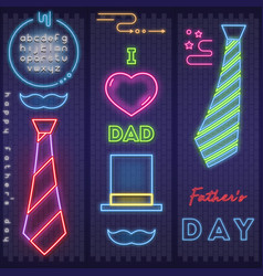 neon card for fathers day vector image