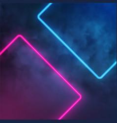 Neon light rectangle smoke effect vector