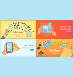online shopping banner set concept poster vector image