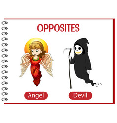 Opposite words with angel and devil vector