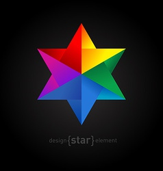 Origami colorful Star on black background vector