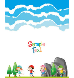 Paper template with kids skating in park vector