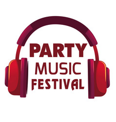 party music festival red headphone background vect vector image