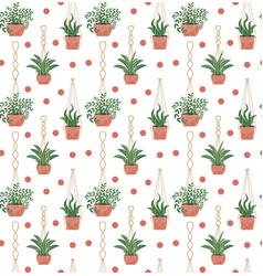 Potted flowers macrame pots seamless pattern vector