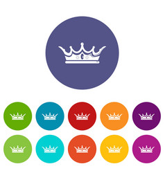 princess crown icons set color vector image