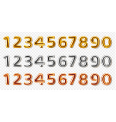 Realistic metal numbers 3d steel numeral shapes vector