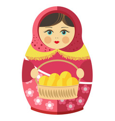 russian matrishka in kerchief with patties in vector image
