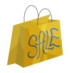 Sale paper shopping bag icon cartoon style vector image