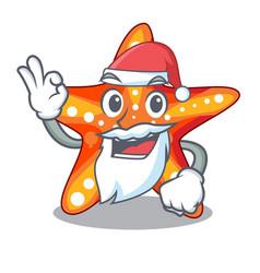 santa underwater sea in the starfish mascot vector image