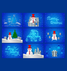 scene of chirstmas day on blue background with vector image