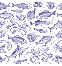 seafood seamless pattern sketch fish hand drawn vector image