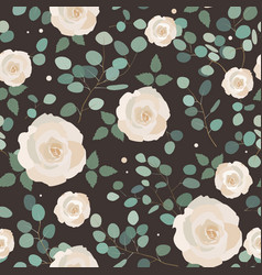 seamless pattern with eucalyptus and roses vector image