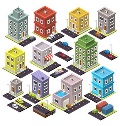 set home and road with cars isometric vector image