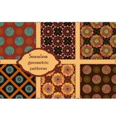 Set of 6 geometric seamless patterns vector